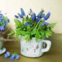 Bloempot plantenbak vintage grijs, natuurlijke klei Ø8,5cm H8cm 4st