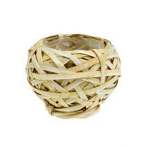 Plantpot gemaakt van chip geel Ø15cm H14cm