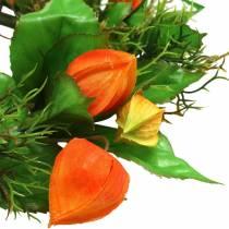 Physalis krans kunst oranje, groen Ø28cm herfstdecoratie