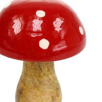 Paddenstoel gemaakt van hout rood 15,5 cm