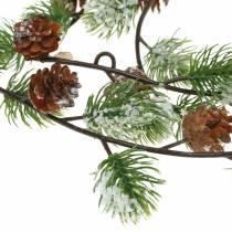 Grenen slinger met kegels sneeuw bedekte 145cm