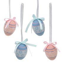 Plastic eieren om op te hangen 4cm blauw-roze mix 36st