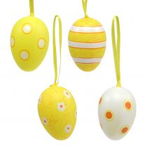 Plastic eierhanger geel 6cm 12st