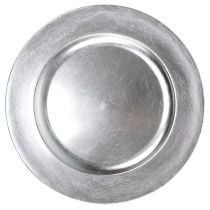 Kunststof bord 25 cm zilver met zilveren bladeffect