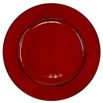 Kunststof bord Ø33cm rood-zwart