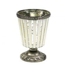 Theelicht glazen beker boer zilver H11cm
