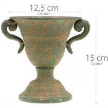 Metalen amfoor, plantenbeker, beker met handvatten Ø12,5cm H15cm