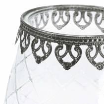Decoratieve glazen bokaal met metalen voet Ø16cm H23.5cm