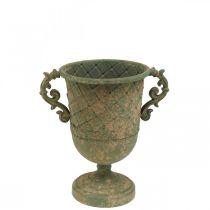 Beker om te planten, kelk met handvatten, metalen schaal antiek-look Ø15.5cm H23.5cm