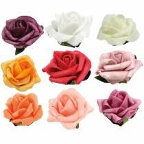 Foam-Rose Ø3,5cm verschillende kleuren 48st