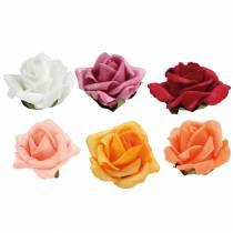 Foam-Rose Ø4.5cm verschillende kleuren 36st
