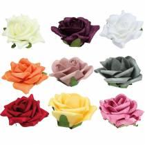 Foam-Rose Ø7.5cm verschillende kleuren 18st