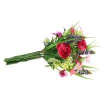 Ranunculus boeket met druivenhyacinten roze 25cm
