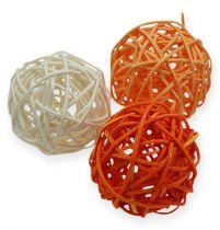 Rotan ballen 4,5 cm oranje abrikoos 30st