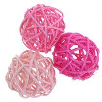 Rotan ballen assorti roze Ø4cm 24st