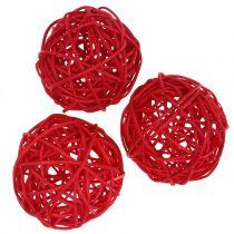 Rotan bal rood Ø7.5cm 15st