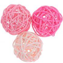 Rotan bal roze mix Ø5cm 18st