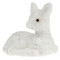Fawn liggend 8cm glitterwit 6st
