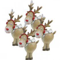 Deco figuur rendier kerst met sjaal 7 × 4,5 × 12cm 4st