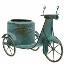 Bloempot scooter metaal roest blauw 33cm