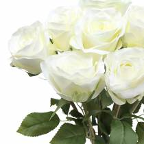 Decoratieve rozenzijden bloemen in een bos creme 36cm 8st