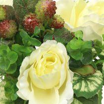 Rozen / hortensia boeket wit met bessen 31cm