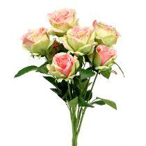 Rozenstruik kunstgroen, roze 55cm