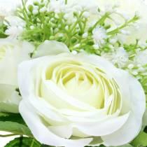 Boeket rozen met gipskruid wit 26cm