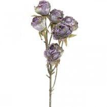 Rozentak, zijden bloem, tafeldecoratie, kunstroos paars antiek look L53cm