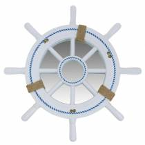 Decoratief stuurwiel met spiegel Wit Ø40cm