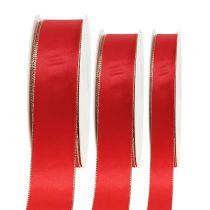 Satijnen lint rood met gouden rand 40m