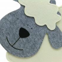 Schaap staand vilt creme, grijs 51 × 7cm H47cm