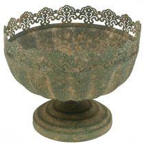 Rustieke plantenbak, schaal met voet, metalen decoratie, antiek look, Ø18.5cm H15cm