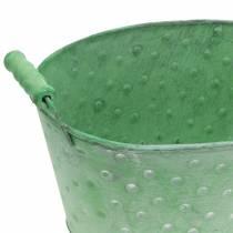 Decoratieve schaal plantenbak metaal groen ovaal 25,5x18,5cm H13cm