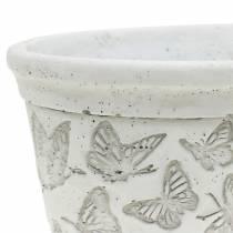 Pot met plantenpot wit met vlinders 17cm x 12cm H8cm 2st