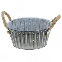 Metalen schaal om te planten, plantenpot met handvatten, bloempot Ø22cm