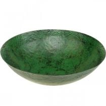 Sierschaal groot metaal groen vintage tafeldecoratie Ø42cm