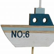 Decoratief plugschip hout wit blauw naturel 8cm H37cm 24st