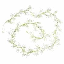 Bruiloft decoratie slinger gypsophila met oogjes wit 180cm