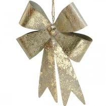 Strik om op te hangen, kerstboomversieringen, metalen decoratie goud, antiek look H23cm B16cm