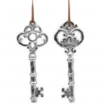 Sleutel zilver om op te hangen 15,5 cm 2st