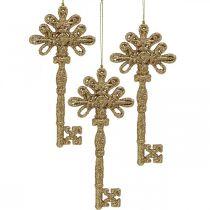 Decoratiesleutel, Kerstdecoratie met glitters, Kerstboomversiering Gouden H15.5cm 12st