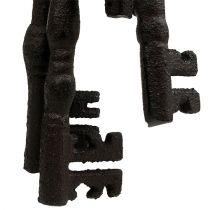 Sleutelhanger met metalen ring bruin 7cm - 15,5cm