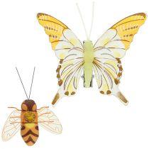 Vlinder, bijendecoratie op clip 4cm - 8cm 9st