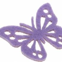 Vilt vlinder tafeldecoratie paars wit assorti 3.5x4.5cm 54 stuks