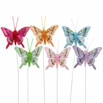 Decoratieve vlinder met draad 5cm 24st gesorteerd