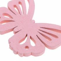 Verspreide vlinder wit, geel, roze geassorteerd hout 5cm 40p