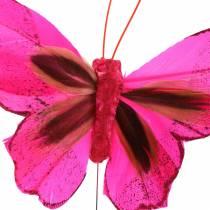 Veer vlinder met draad 7cm roze paars 24st
