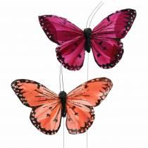 Veer vlinder met draad kleur zalm en paars 10cm 12 stks