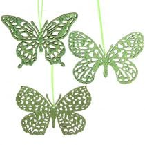 Decoratieve hangende vlinder groen glitter 8cm 12st